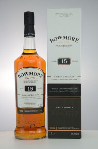 Bowmore - 15 Years - Golden & Elegant - 43% (1 Liter)
